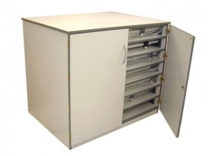 Drawing Board Storage Cupboard with optional locking and castors.