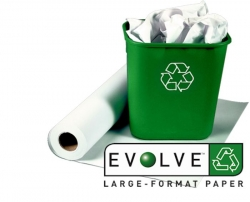 610mm x 45m CAD Plotter Paper Roll 90gsm Evolve Recycled